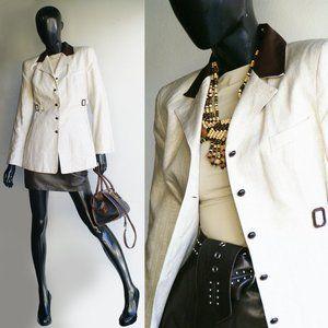 Cache Tan Linen Blazer w/ Lambskin Leather collar